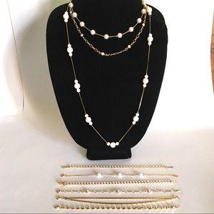 Vintage Necklace & Bracelet Lot gold plated chain